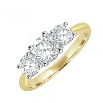 18ct Gold Three Stone Diamond Engagement Ring