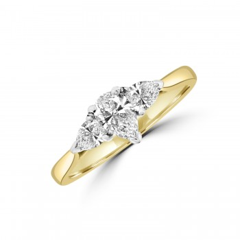 18ct Gold Three-stone Pear cut DVVS2 Diamond Ring
