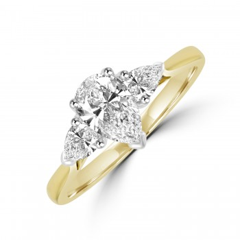 18ct Gold 3-stone Pear cut DSi1 Diamond Ring