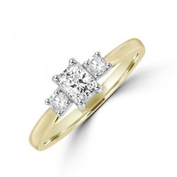 18ct Gold Three-stone ESi2 Radiant & Brilliant Diamond Ring