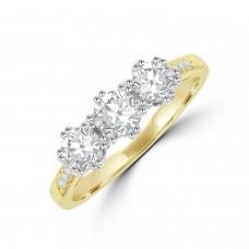 18ct Gold Three-stone Certified ESi1 Diamond Ring