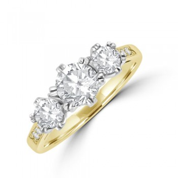 18ct Gold Three-stone ESi2 Diamond Ring with set shoulders