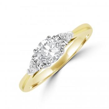 18ct Gold 3-stone Brilliant & Pear Diamond Ring