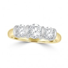 18ct Gold Three-stone 1.25ct Diamond Bar set Ring