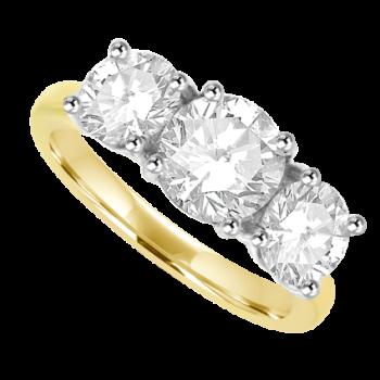 18ct Gold 2.03ct Three-stone DSi2 Diamond Ring