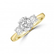 18ct Yellow Gold and Platinum Oval DVS1 Three-Stone Ring