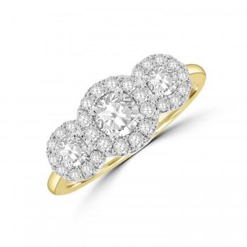 18ct Yellow Gold Three-Stone Halo Ring