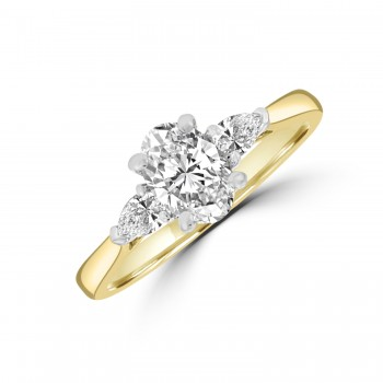 18ct Gold and Platinum Oval DSi2 and Pear cut Diamond Ring