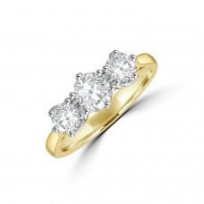 18ct Gold Three-stone 1.01ct Diamond Vintage set Ring