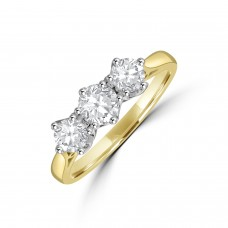 18ct Gold Three-stone .79ct Diamond Vintage setting Ring