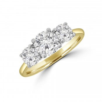 18ct Gold & Platinum Three-stone 1.57ct ESi2 Diamond Ring