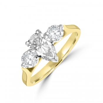 18ct Gold and Platinum 3-stone Pear ESi1 Diamond Ring