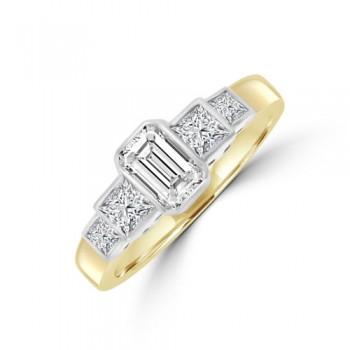 18ct Gold Emerald cut & Princess cut Rubover Diamond Ring