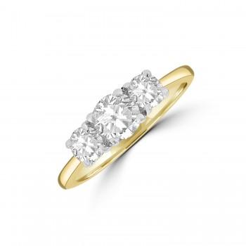 18ct Gold and Platinum DSi1 Diamond Three-stone Ring