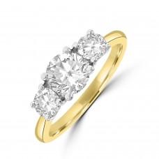 18ct Gold and Platinum Three-stone ESi2 Diamond Ring