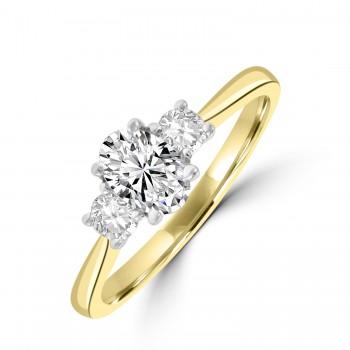 18ct Gold Three-stone Oval and Round DSi2 Diamond Ring