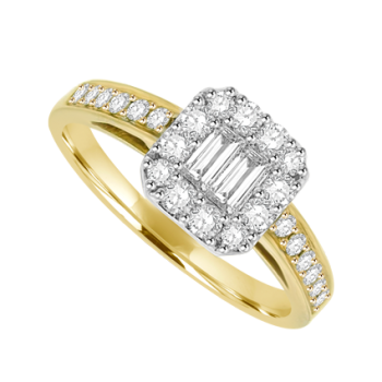 18ct Gold Baguette Diamond Cluster Ring