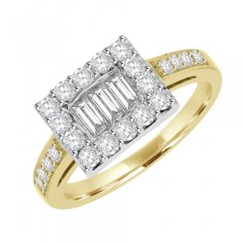 18ct Gold Diamond Baguette Cluster Oblong Ring