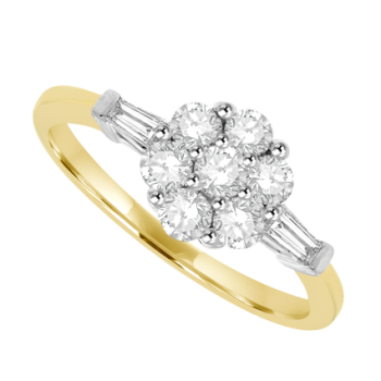 18ct Gold 7-Stone Flower Cluster Ring with Diamond Baguettes