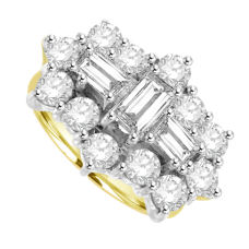 18ct Gold 15 Diamond Baguette Cluster Ring