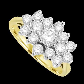 18ct Gold 15 Diamond Tri-Cluster Ring