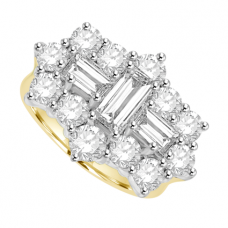 18ct Gold 15-Stone Baguette Diamond Cluster Ring
