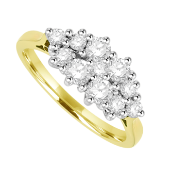 18ct Gold 11 Diamond Boat Cluster Ring