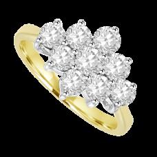 18ct Gold 9 Diamond 3x3 Cluster Ring