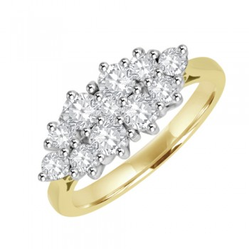 18ct Eleven-Stone Diamond Boat Shaped Cluster Ringt