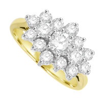 18ct Yellow Gold 15 Diamond Tri-Cluster Ring
