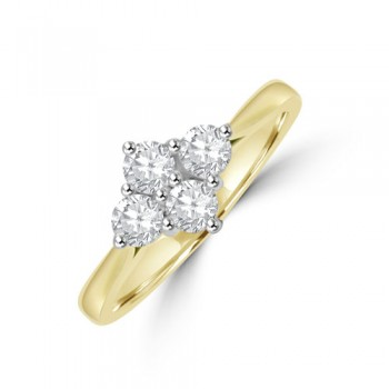 18ct Gold 4-stone .50ct Diamond 2x2 Cluster Ring