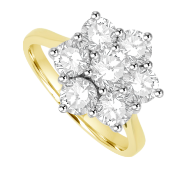 18ct Yellow Gold 7 Diamond Flower Cluster Ring
