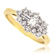 18ct Gold 15-Stone Baguette Cluster Diamond Ring