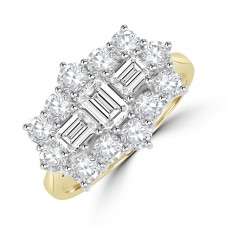 18ct Gold 15-stone Baguette 1.98ct Diamond Cluster Ring