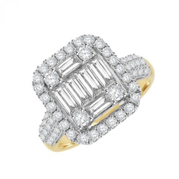 18ct Gold & Platinum Diamond Baguette Cluster Halo Ring