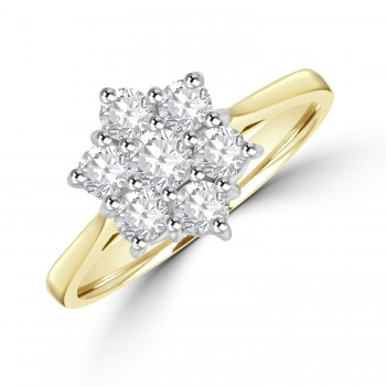 18ct Gold 7-stone Flower Cluster .64ct Diamond Ring