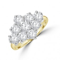 18ct Gold 9-stone 2.15ct Diamond 3x3 Cluster Ring