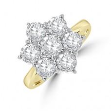18ct Gold 7-stone 2.05ct Diamond Daisy Cluster