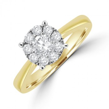 18ct Gold Solitaire Illusion Cluster Ring
