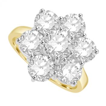 18ct Gold 3.05ct Diamond Daisy Cluster Ring
