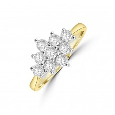 18ct Gold 3x3 .64ct Diamond Cluster Ring