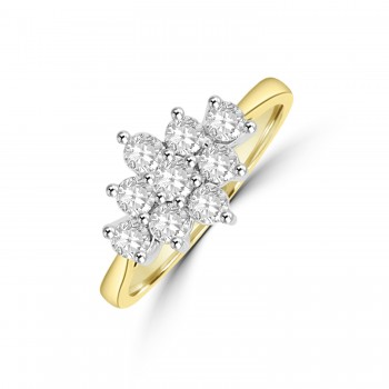 18ct Gold 3x3 .64ct Diamond Cluster Ring