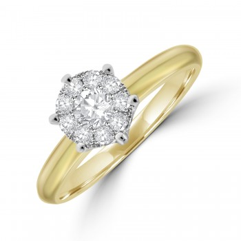18ct Gold Diamond Illusion Solitaire Ring