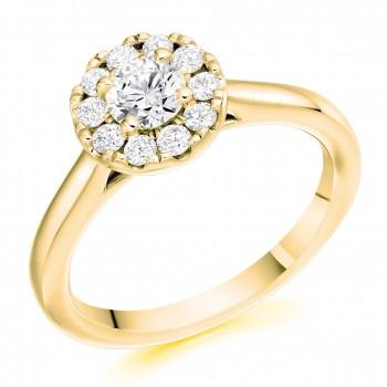 18ct Gold 11x1 Diamond Cluster Halo Ring