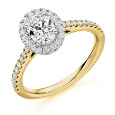 18ct Gold Solitaire Diamond Oval Halo Ring