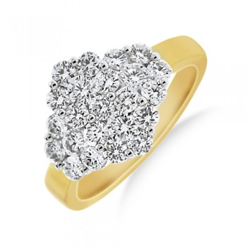 18ct Gold Diamond Boat Cluster Ring