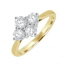 18ct Gold 2x2 Diamond Cluster Ring