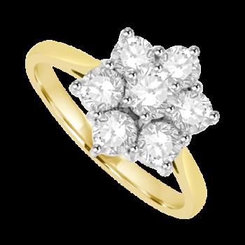 18ct Gold 1.51ct Diamond Daisy Cluster Ring