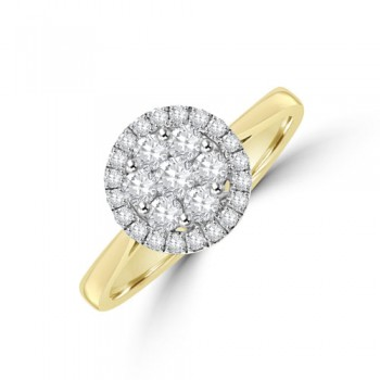 18ct Gold Daisy Cluster Diamond Halo Ring