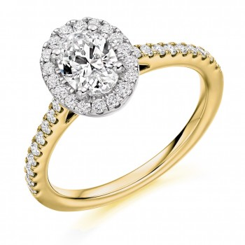 18ct Gold Oval Solitaire DSi2 Diamond Halo Ring